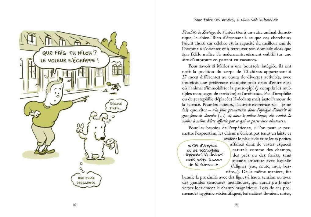 Pour faire ses besoins, le chien suit la boussole ! © La science improbable du Dr Bart, éditions Dunod - Tous droits réservés
