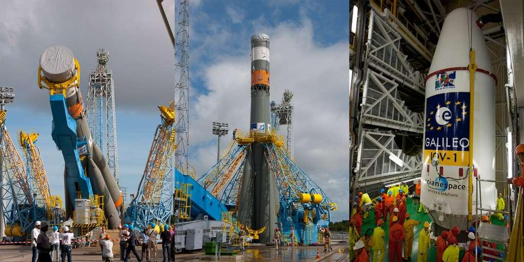 Onze ans après les premières études (débutées en 1998), une étape significative de la coopération avec la Russie se concrétise avec le premier lancement d'un lanceur Soyouz depuis la Guyane. © Esa/S. Corvaja, 2011