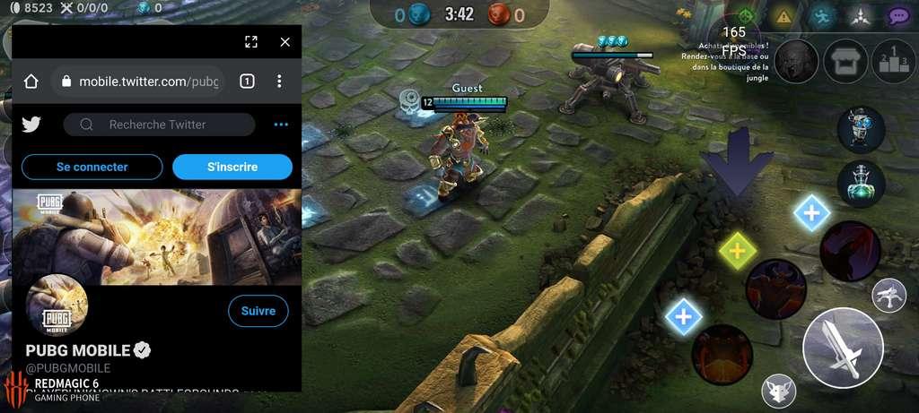 Le RedMagic 6 permet d'accéder à une messagerie ou à un navigateur pendant le jeu et affiche le nombre d'images par seconde dans une bulle. © Capture d'écran, Edward Back