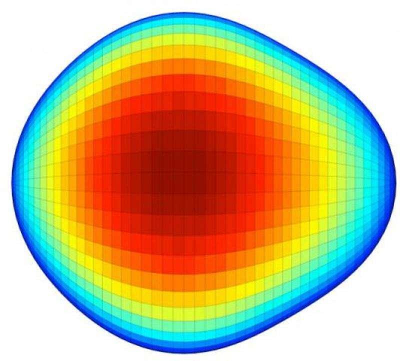 La curieuse forme d'un noyau de radium 224 dont les dimensions sont d'une dizaine de femtomètres (unité de mesure de longueur valant 10-15 m). Les couleurs passant du bleu au rouge indique la position de la surface de cet isotope selon l'axe perpendiculaire au plan qui serait celui de l'écran. © Isolde, Cern