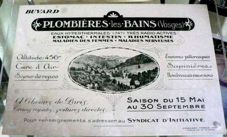 Buvard publicitaire vantant la radioactivité des eaux de Plombières (Musée Curie, Paris)