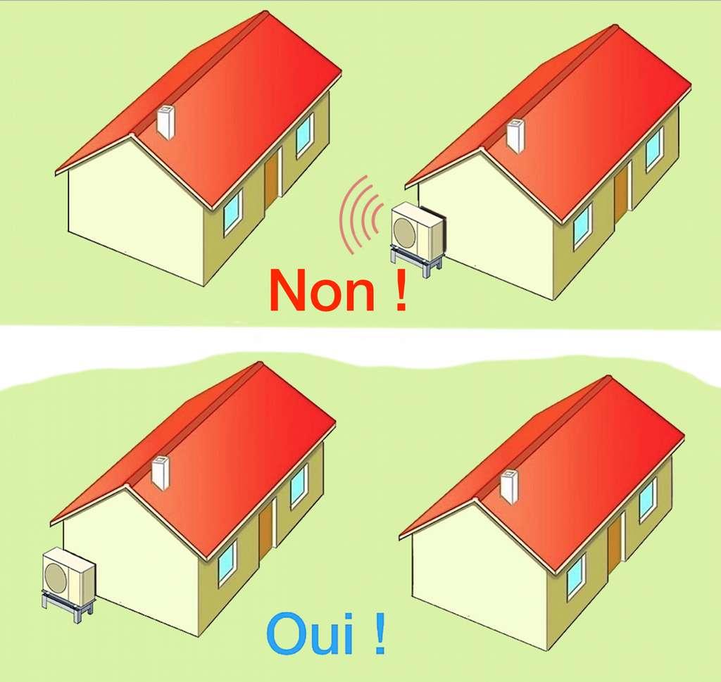La PAC se fixe sur un socle ou sur un support mural, sans contact avec le mur de la maison. M. B.