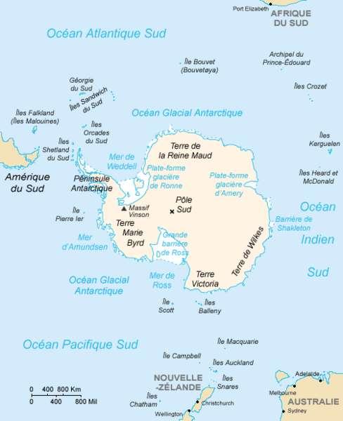 Cette carte permet de visualiser la position de la terre Marie Byrd, dans l'ouest de l'Antarctique. Ce territoire n'est actuellement réclamé par aucun pays, ce qui signifie qu'il s'agit de la seule région au monde avec le Bir Tawil dont aucun pays ne revendique la souveraineté. © CIA World Factbook, Wikimedia Commons, DP