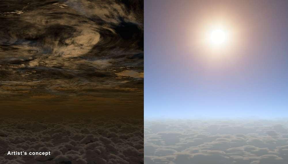 L'atmosphère de HAT-P-11b, comme si on y était. La partie gauche de l'illustration montre la haute atmosphère de cette exoplanète de taille équivalente à Neptune avec un amoncellement de nuages. À droite, la même région, cette fois par temps clair. Grâce à cette belle météo, les astronomes ont pu déceler la vapeur d'eau présente dans les couches inférieures. © Nasa, JPL-Caltech