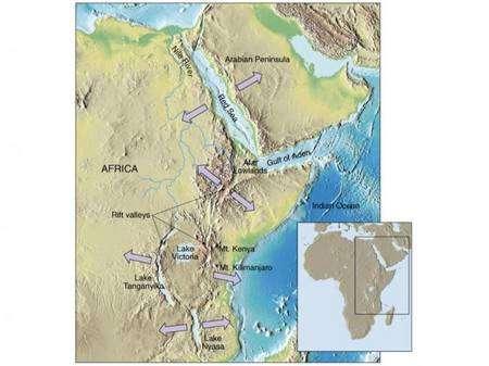 Figure 1. (Cliquer pour agrandir.) Le rift africain. Crédit : INSU