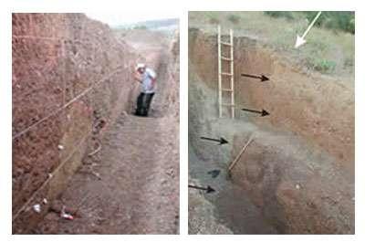 A gauche : tranchée d'étude à Guzelkoi. A droite : dans cette zone de faille, les flèches noires montrent les cicatrices des failles datant de 1912.