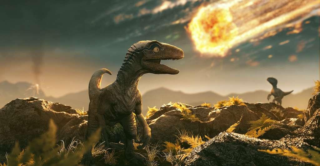 Les chercheurs de l'université du Texas (États-Unis) ont trouvé la preuve qui leur manquait que l'extinction des dinosaures est liée à la chute sur Terre d'un astéroïde. © lassedesign, Adobe Stock