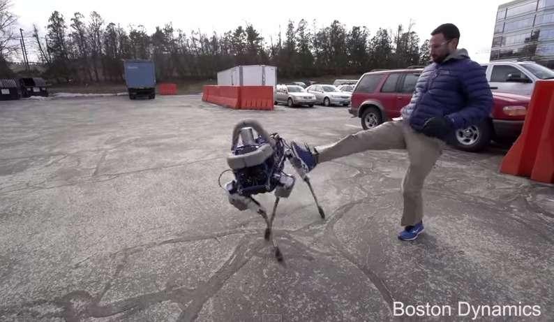 Le robot-chien Spot possède un système de stabilisation si rapide qu'il peut encaisser un violent coup de pied sans pour autant chuter. © Boston Dynamics, YouTube