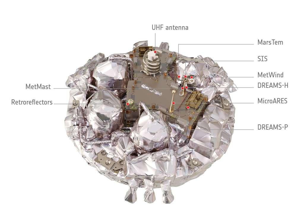L'atterrisseur sorti de sa capsule. On distingue, à la périphérie, les trois groupes de trois propulseurs à hydrazine. Cette plateforme de 1,65 m de diamètre porte plusieurs instruments, alimentés par une batterie. © ESA