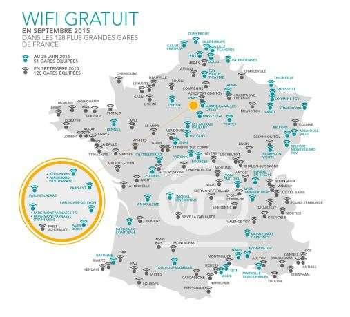 Voici la carte des 128 gares SNCF de l'Hexagone qui proposeront un accès Internet Wifi gratuit fin septembre. © SNCF