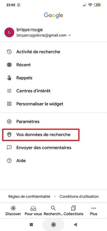 Appuyez sur « Vos données de recherche ». © Google Inc.