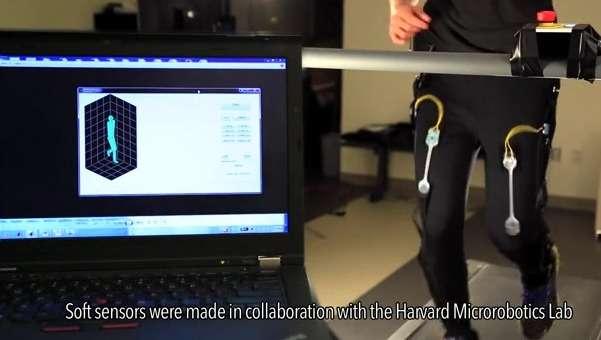 La structure du Soft Exosuit est faite de sangles en tissu incorporant des capteurs de contrainte souples qui mesurent les mouvements et la position des jambes. Ces informations sont transmises à un microcontrôleur qui pilote l'assistance via des câbles actionnés par des moteurs. © Harvard's Wyss Institute