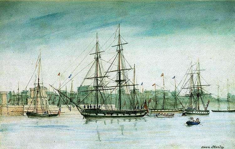 Darwin a fait le tour du monde à bord de l'HMS Beagle (au centre) entre 1831 et 1836. © DP