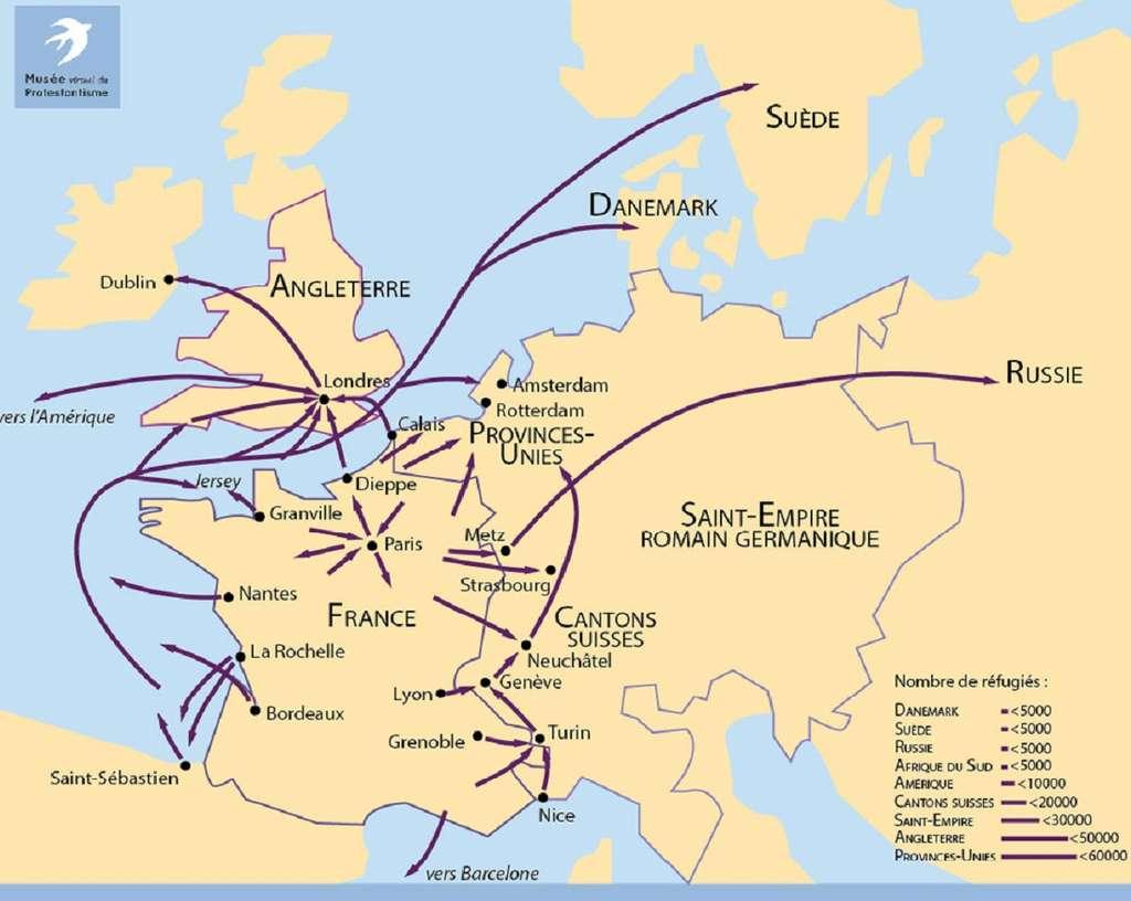 Carte du refuge protestant au XVIe siècle. Musée international de la Réforme de Genève. © Musée Virtuel du Protestantisme