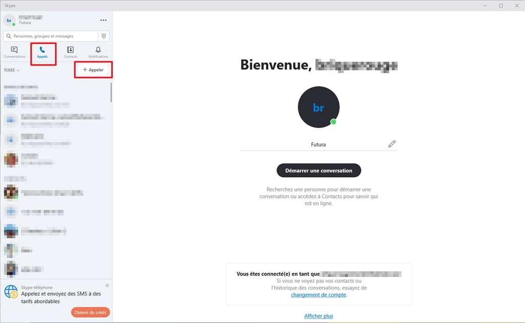 Il faut aller dans l'onglet « Appels » pour pouvoir débuter une conversation vocale de groupe. © Microsoft