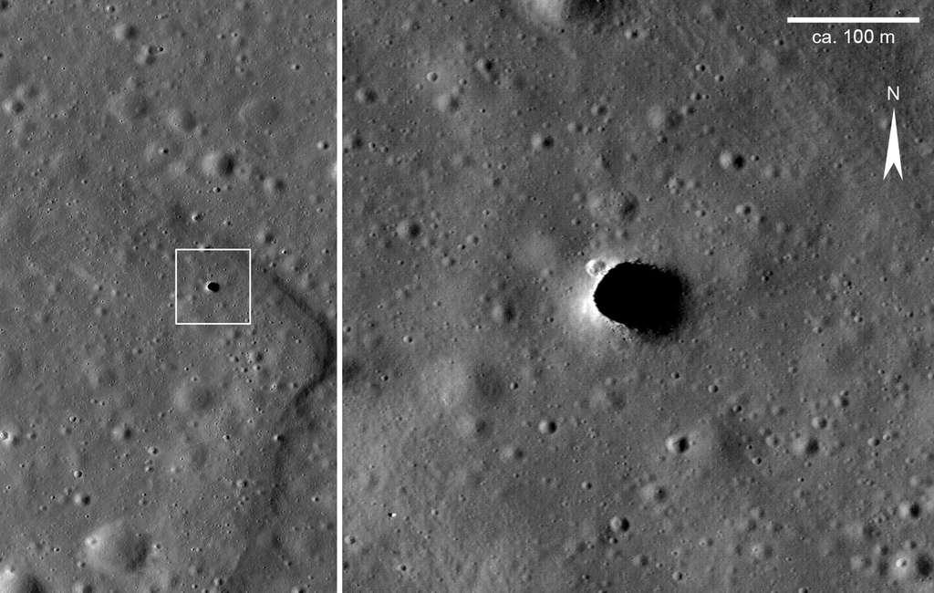 Un puit à ciel ouvert à la surface de la Lune débouchant sur des tunnels de lave. © Nasa, Lunar Reconnaissance Orbiter Camera (LROC), Science Operations Center (SOC)