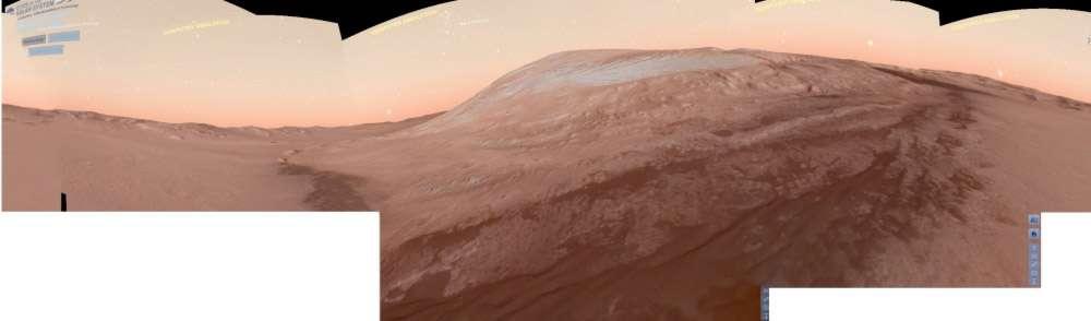 Panorama virtuel que doit observer Curiosity. Il a été réalisé en assemblant plusieurs captures d'écran du logiciel de simulation de la Nasa, Eyes on the Solar System. © Pierre Arpin, Nasa