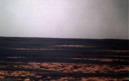 Image couleurs prise par Opportunity à sol 1783, obtenue au moyen de trous images monochromatiques (filtres rouge, vert, bleu). Crédit Nasa - Traitement Futura-Sciences