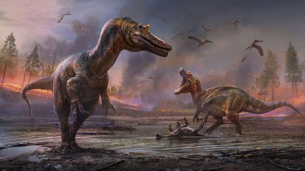 Vue d'artiste de Ceratosuchops inferodios (à gauche) et de Riparovenator milnerae (à droite). © Anthony Hutchings