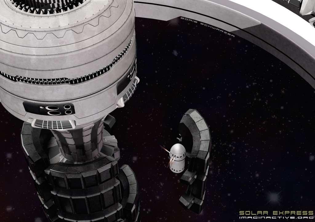 Compartiment de fret transporté par une navette après son décrochage de l'un des cylindres qui composent le train spatial. © Imaginactive
