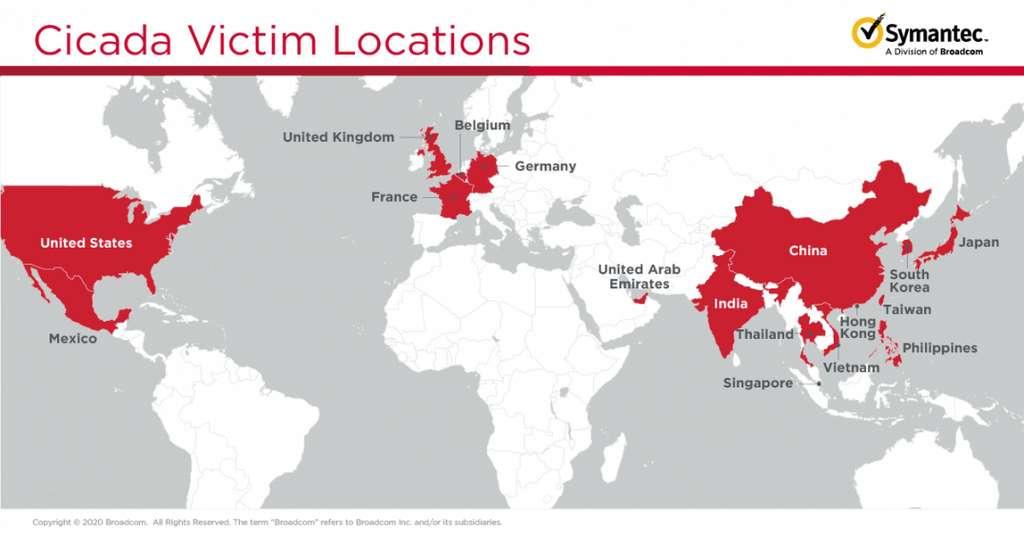 Voici la carte des pays dont les entreprises sont impactées par cette cyberattaque massive. Elles ont toutes un point commun : des liens avec des sociétés japonaises. © Symantec
