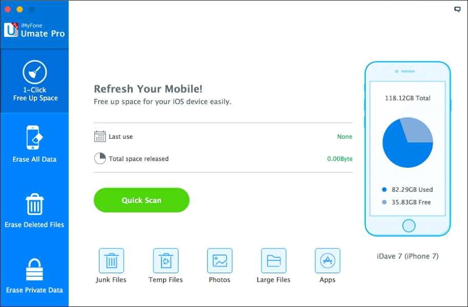 iMyFone Umate libère de l'espace pour les appareils sous iOS. © iMyFone