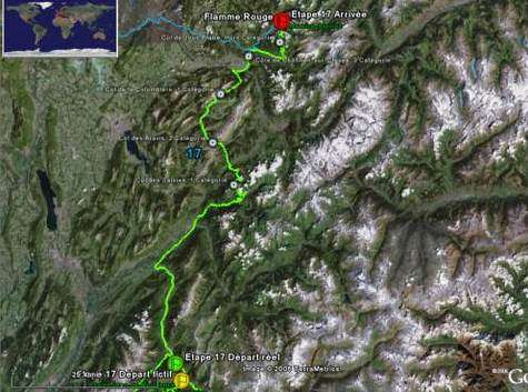 L'étape vue depuis Google Earth (Crédits : Google Earth)
