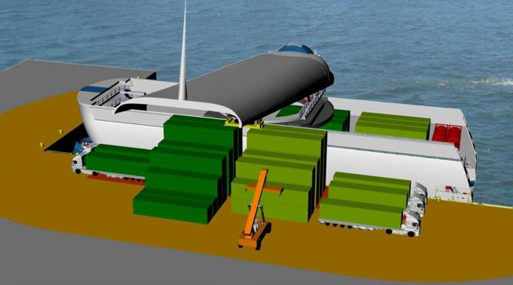 La « voile solaire » multifonction du Cargoxpress peut se transformer en grue, dont le rayon d'action autour du navire est indiqué sur ce dessin par la coloration du quai. © Cargoxpress.eu