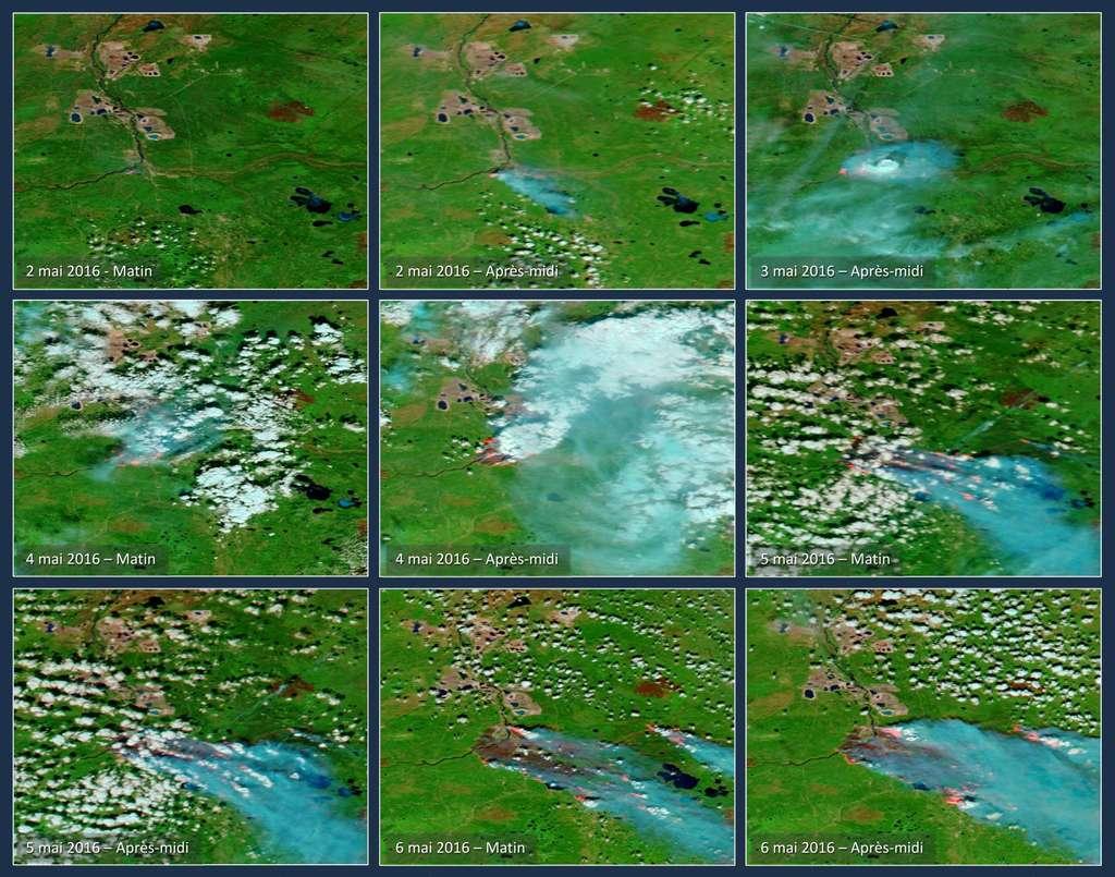 L'évolution des incendies autour de la ville de Fort McMurray, du 2 au 6 mai, vue par les satellites Aqua et Terra, de la Nasa. © Nasa/EOSDIS/Worldview et Illustration Gedeon