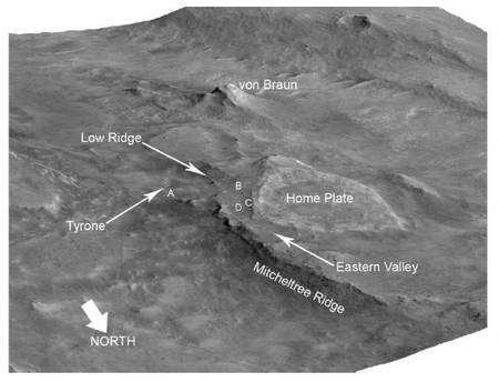 Une reconstitution de la topographie de la région du cratère Gusev où se trouvait en 2008 le rover Spirit lorsqu'il a découvert les dépôts hydrothermaux. © Nasa