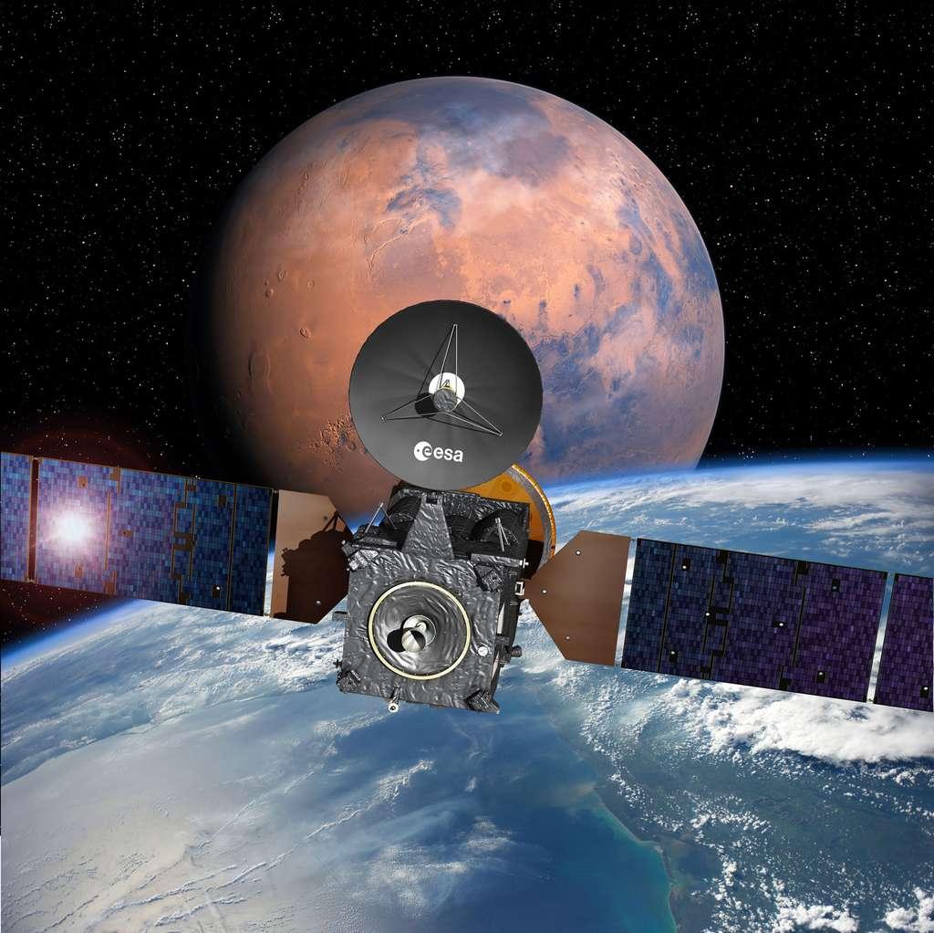 La sonde ExoMars 2016 sera lancée le plus tôt possible à l'intérieur d'une fenêtre de tir qui s'ouvrira le 14 mars et se fermera le 25 mars. © Esa, D. Ducros