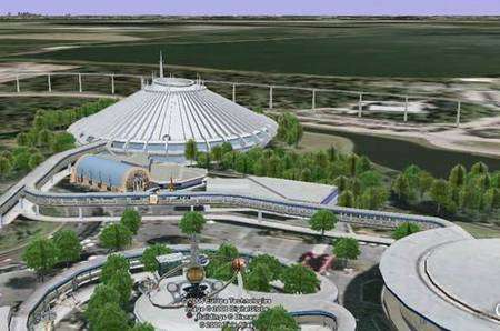 Le célèbre Space Mountain... sans ses files d'attente. Capture d'image sous Google Earth