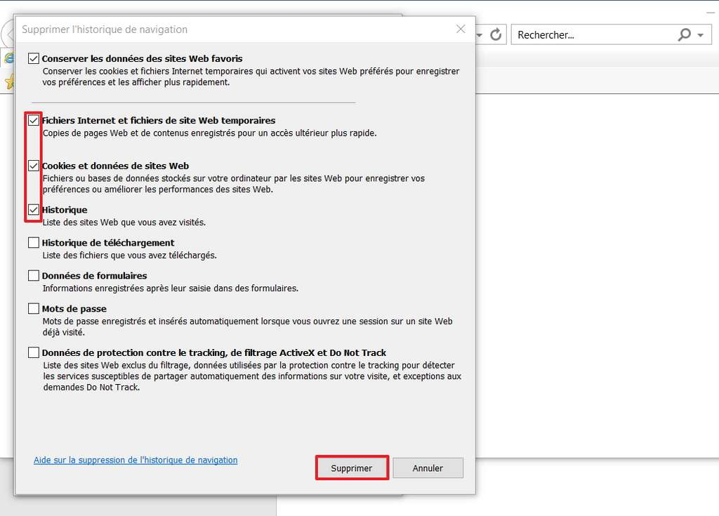 Cochez les cases indiquées pour effacer les fichiers inutiles. © Microsoft