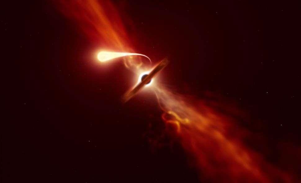 Représentation de la spaghettification d'une étoile par un trou noir. © ESO, Martin Kornmesser