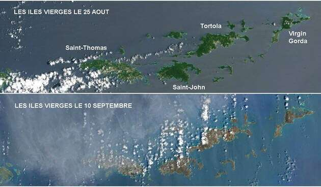 Avant-après : vues du ciel du travail destructeur de l'ouragan Irma. © Nasa Earth Observatory