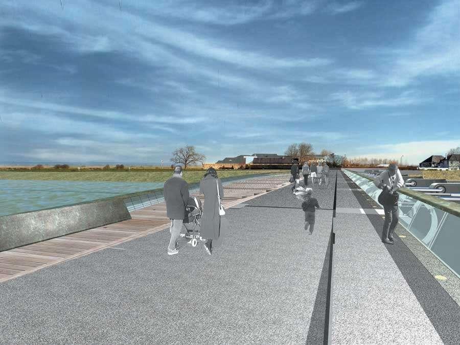 Pont-promenade sur le barrage du Couesnon