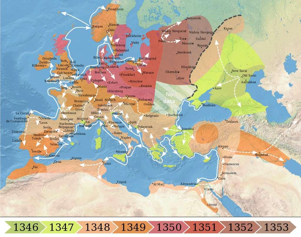 L'expansion de la pandémie de peste noire en Europe au 14e siècle. © Wikipedia