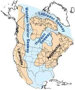 La mer de Niobraran, en anglais Western Interior Seaway, divisait l'Amérique du Nord en deux du milieu à la fin du Crétacé. Lui-même situé entre -145 et -66 millions d'années. © William Cobban and Kevin McKinney, USGS, Domaine public