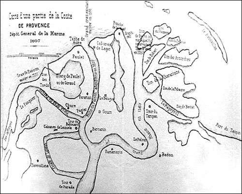 Carte du delta du Rhône en 1607. © DR, reproduction et utilisation interdites