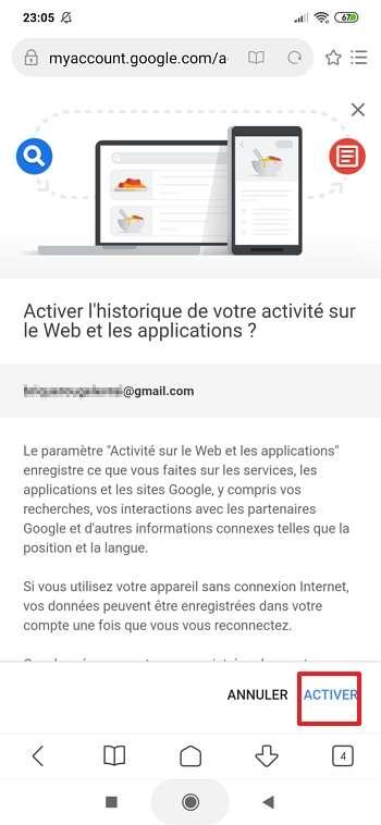 Appuyez sur « Activer » en bas de la page. © Google Inc.
