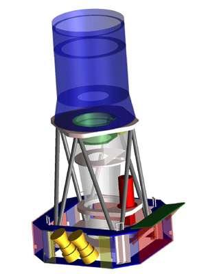 Schéma de la structure interne de la charge utile de Corot, avec le télescope Corotel et son baffle, la caméra CorotCam et la case à équipement qui leur est associée. (Crédits : CNES)