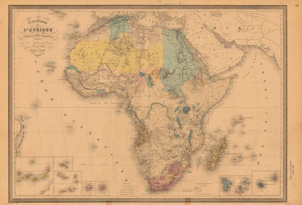« Carte générale de l'Afrique d'après les dernières découvertes », dessinée par Georges Andriveau Goujon en 1880. Bibliothèque de l'université de Princeton, département des cartes. © Wikimedia Commons, domaine public