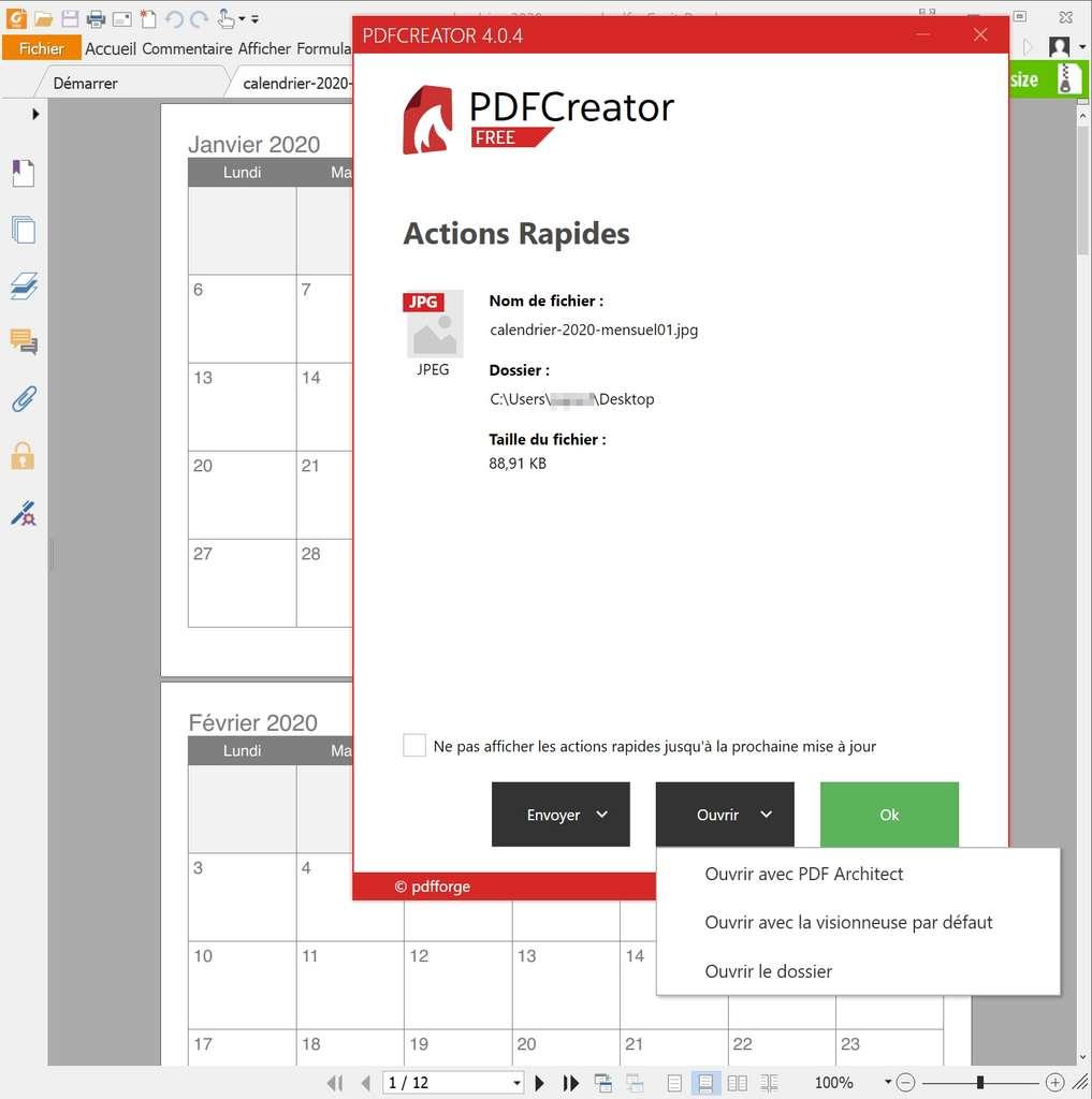 Ouverture des fichiers ou du dossier de destination depuis le bouton «Ouvrir». © pdfforge GmbH.
