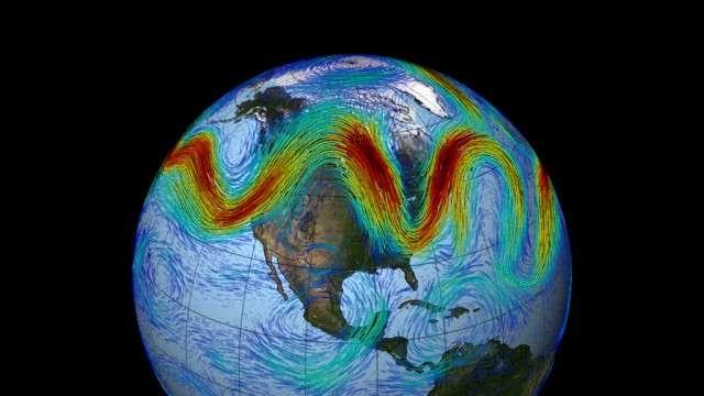 Le courant-jet dans l'hémisphère nord est un vent d'ouest, d'altitude. À mesure que la banquise disparaît, le vent ralentit et forme des méandres. Ceux-ci peuvent contribuer à l'accroissement d'étés extrêmes, pour les régions des moyennes latitudes. © Nasa