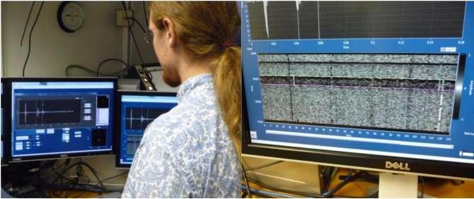 Identification des temps d'arrivée des ondes et construction du profil de sismique. Une étape clé pour choisir l'emplacement des puits. © Jean-Luc Berenguer