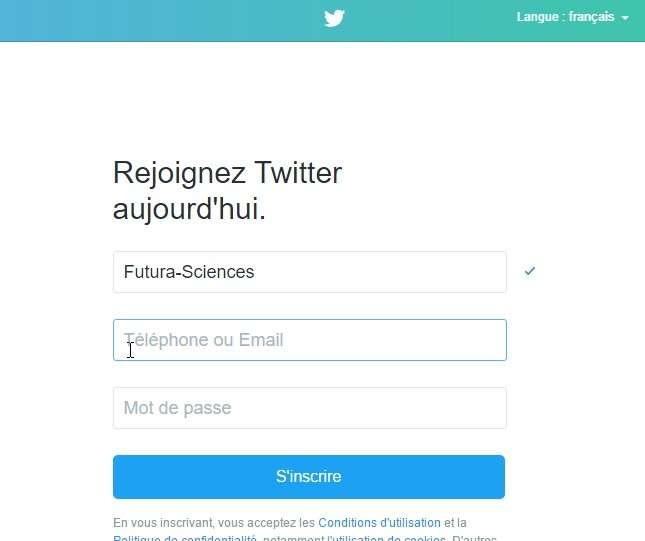 On peut s'inscrire à Twitter sous son vrai nom ou utiliser un pseudonyme. © Futura-Sciences