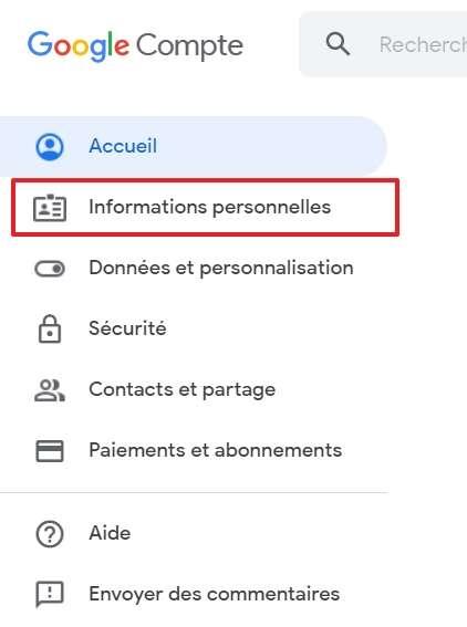 Cliquez sur « Informations personnelles ». © Google Inc.