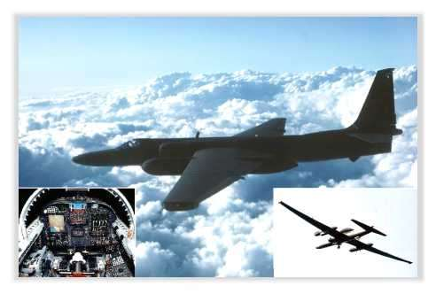 """Les """"blackbirds"""": les avions espions U-2 au service du Renseignement des Etats-Unis. Le U-2 reçu pour plus de 1.7 milliards de dollars de mises à jour en nouvelle avionique, turbine et moyens de détection au cours de ses 48 ans d'existence. On l'utilise encore aujourd'hui à des fins scientifiques. © Documents A.F.Link"""