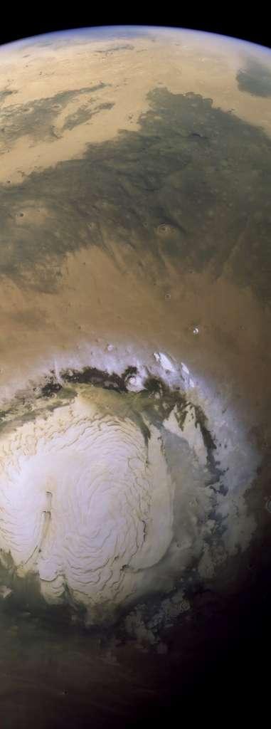 La calotte polaire nord de Mars imagée par Mars Express le 7 avril 2014. © Esa, DLR, Fu Berlin, Justin Cowart