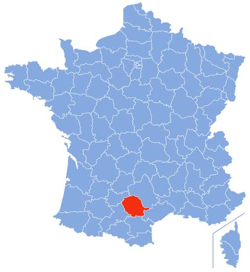 Localisation du département du Tarn par rapport au reste de la France. © Marmelad, Wikimedia Commons, CC by-sa 2.5